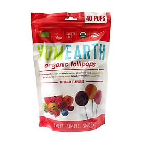 Kẹo mút hữu cơ cho bé 8 hương vị trái cây Yumearth 40 chiếc