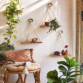 set 3 kệ treo tường kệ trang trí kệ treo dây kệ treo dây macrame kệ gỗ