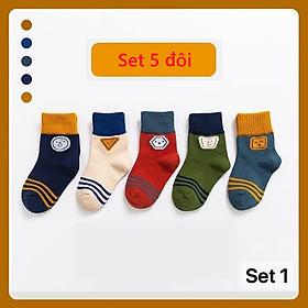 Tất vớ cho bé trai 1-12 tuổi Set 5 đôi tất trẻ em cao cổ chống trượt phong cách Hàn cực đẹp