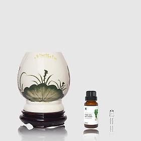 Đèn xông MD024 Kepha + Tặng 1 bóng đèn + Thêm 1 lọ tinh dầu Sả Chanh 10ml | Đèn xông tinh dầu gốm sứ cao cấp. Hoạ tiết hoa sen màu xanh. Đế gỗ chắc chắn, an toàn