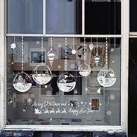 White Christmas Glass Display Window Stickers for Window Home Decor