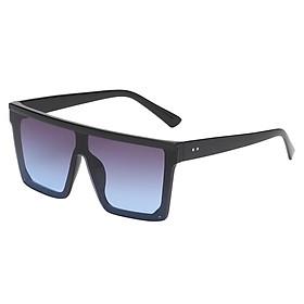 Fashion Square Frame Sunglasses for Men Women UV400 Black Frame Black Lens