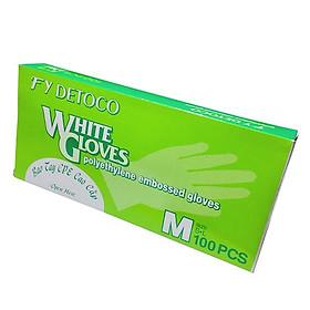 Găng tay thực phẩm Detoco size M 100 cái/hộp, chế biến thực phẩm, dược phẩm, phòng thí nghiệm, Y tế.