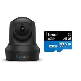 Combo Camera Wifi IP C29s FHD 1080p Vstarcam , Camera không dây trong nhà (Hiệp sĩ bóng đêm), Kèm thẻ nhớ 128GB A1 4K Lexar - Hàng chính hãng