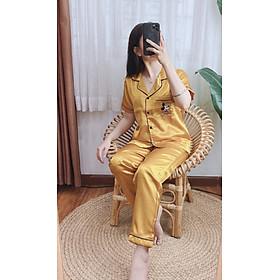 Đồ bộ ngủ mặc nhà nữ Lụa túi thêu Mickey dễ thương nhiều màu sắc dưới 62kg cho bạn gái tay ngắn quần dài