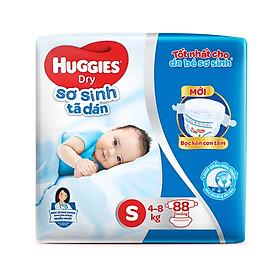 Tã dán sơ sinh Huggies mới (5kg-8kg) - Gói 88 miếng [Tặng khăn ướt 64 tờ]