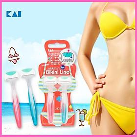Bộ 4 dao cạo an toàn cao cấp vùng bikini thương hiệu Kai Nhật Bản tặng 2 zipper 10cm