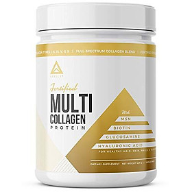 Fortified Multi Collagen Protein Powder: Types I, II, III, V & X with Added Biotin, Hyaluronic Acid, Glucosamine, MSM for Joints Hair Skin Nails Gut - Keto Approved (Unflavored Powder - 50 Servings)