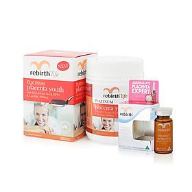 Combo thực phẩm chức năng viên uống nhau thai cừu Rebirth (RL01) + serum tế bào gốc nhau thai cừu dưỡng trắng da diệu kỳ 10ml(RM22) Miracle C WhiteningSerum 10ml (collagen & wakamine)