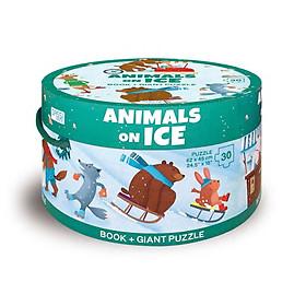 Bộ xếp hình 30 mảnh Động Vật Bắc Cực của hãng SASSI JUNIOR Puzzle Animals on ICE có tặng 1 cuốn sách tiếng Anh
