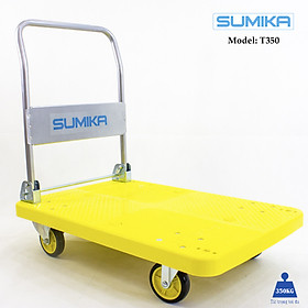 Xe đẩy hàng sàn nhựa SUMIKA T350 - Khung thép, tay cầm gấp mở tiện lợi, tải trọng 350kg