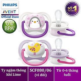 Núm ty ngậm thông khí Philips Avent hình thú (phiên bản Lime) cho trẻ từ 0-6 tháng tuổi _ vỉ đôi