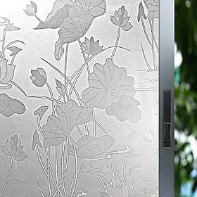 Giấy dán kính họa tiết hoa sen
