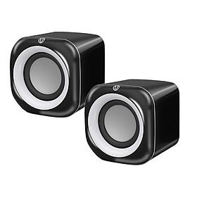 Set Of 2 Black Plastic 3.5mm Mini Wired Speaker Player Soundbox For Computer