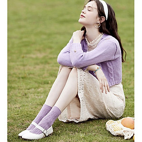Set 5 Đôi Tất Cao Cổ Họa Tiết Tím Lavender Mang Hơi Thở Khu Rừng Thu Cổ Tích Thơ Mộng TN86 - Mix Ngẫu Nhiên