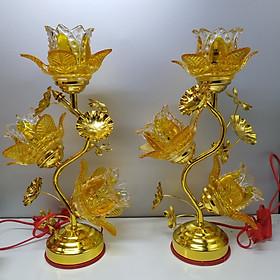 Đèn 3 bông thuỷ tinh bóng led, tiết kiệm điện ( dành cho bàn thờ cỡ nhỏ hoặc cỡ trung )