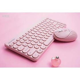 Combo phím và chuột không dây siêu đáng yêu NEWMEN K928 màu hồng _ Hàng chính hãng