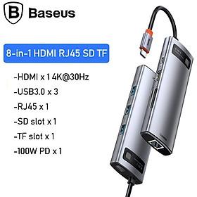 Hub chuyển đổi đa năng 8 trong 1 Baseus CAHUB-CV0G ( Type-C to HDMI/ USB3.0/ LAN / SD Card Reader/ Type C PD 100W, Multifunctional HUB) - HÀNG NHẬP KHẨU