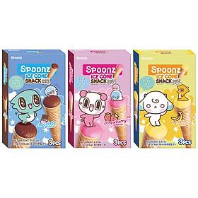Combo 3 hộp Bánh Xốp Spoonz Snack Ice Cone Vị Dâu, Vị Chuối, Vị Socola 27g
