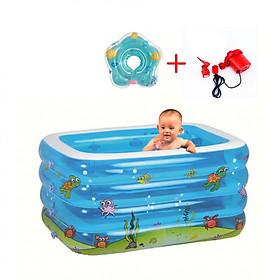 Bể bơi 4 tầng cao cấp màu xanh tặng phao đỡ cổ cho bé