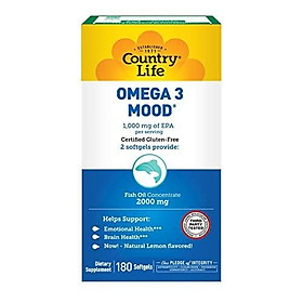 Country Life Omega 3 Mood - with EPA and Fish Oil Concentrate - 180 Softgels