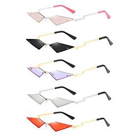 5 Pcs Women's Rock Cat Eye Sunglasses Rimless Sun Glasses Rave Party Eyewear