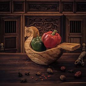 thanh lịch – khay thiên nga gỗ – khay trang trí đựng đồ ăn chạm khắc bằng tay