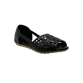 Giày Sandal Đế Bệt Họa Tiết Laser Cindydrella C11D - Đen