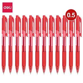 Bút bi dầu Deli - 0.5mm/0.7mm đầu bấm - đệm tay TPR êm ái - mực Xanh/Đen/Đỏ - 12 chiếc/hộp