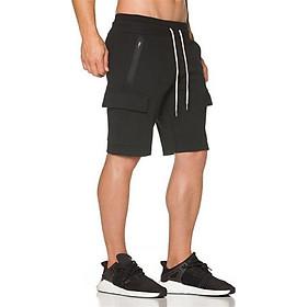 Quần short thể thao nam túi hộp, quần tập gym nam thun cotton cao cấp QDAE003