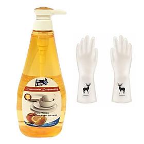 Nước rửa chén bát đậm đặc Mr. Fresh Hàn Quốc 800ml + Tặng 1 đôi găng tay cao su con hươu (Họa tiết ngẫu nhiên)
