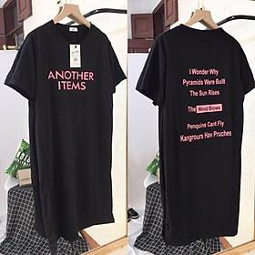 Đầm suông nữ cotton from rộng - Váy suông cổ tròn cộc tay họa tiết chữ Another - Đầm bầu mặc thoải mái - CM Shop