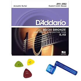 D'addario EJ13 - Dây đàn acoustic D'addario EJ13 kèm tay quay thay dây + 3 móng gảy kích thước khác nhau