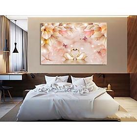 Tranh treo tường - tranh treo phòng ngủ Thiên Nga N09 /Gỗ MDF cao cấp phủ kim sa/ Chống ẩm mốc, mối mọt/Bo viền góc tròn