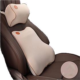 Bộ gối tựa đầu và tựa lưng xe hơi, xe ô tô chất liệu cao su non cao cấp V2