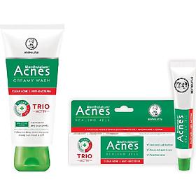 Bộ sản phẩm trị mụn Acnes (Kem rửa mặt Acnes Creamy Wash 100g + Gel trị mụn Acnes 18g) + Tặng túi vải xinh xắn Acnes