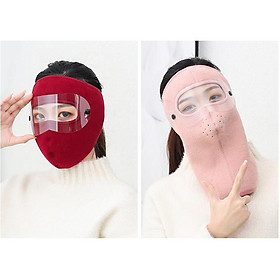 Khẩu trang ninja vải nỉ kính che kín mặt kín tai chống nắng gió lạnh bụi - khau trang kinh che kin