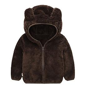 Áo khoác lông tai gấu màu xám đen bé trai 1-6 tuổi