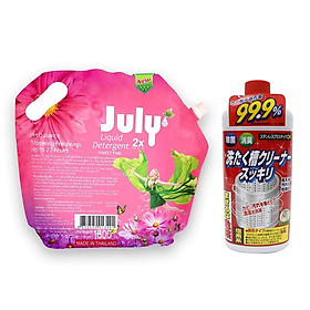 Nước giặt xả 2 in 1 July 2X 3500ml hàng Thái Lan + KM chai tẩy lồng máy giặt Rocket 550g nội địa Nhật Bản