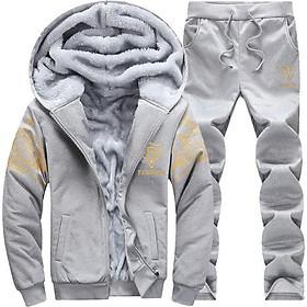 Bộ quần áo mùa đông nam có mũ và lót bông giữ ấm cơ thể