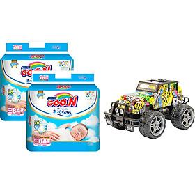 Combo 2 bịch Tã dán Goon Premium cao cấp gói siêu đại NB84 ( NB~ 5kg) 84 miếng + Bộ đồ chơi xe điều khiển cao cấp