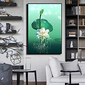 Tranh đơn canvas treo tường Decor Họa tiết hoa sen trắng nở rộ - DC172