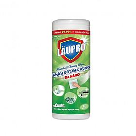 Khăn ướt Kháng Khuẩn CHỨA CỒN - Gia dụng Läupro – Lau Đa Năng - Hộp 45 Khăn (Laupro) - Được kiểm nghiệm & chứng nhận!
