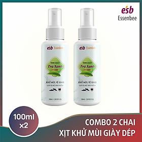 Combo 2 chai Xịt khử mùi giày Hương Trà Xanh - Essenbee - 100ml/chai. Giúp vệ sinh và khử mùi giày dép hiệu quả.