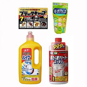 Combo dọn dẹp nhà cửa đón tết (Bột Baking Soda + Thuốc viên diệt gián + Chai thông tắc đường ống cống + Nước tẩy vệ sinh lồng máy giặt) nội địa Nhật Bản