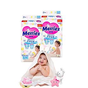 Combo 2 Tã Dán Merries L54 tặng khăn tắm sợi tre hình thỏ đáng yêu và đồ chơi tắm Toys House-0