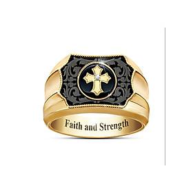 Nhẫn nam titan chữ thập khắc chữ Faith and strengh (niềm tin và sức mạnh) độc đáo