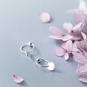 Khuyên tai  bạc đẹp - Bông tai Bạc Nữ  925  Nấm trắng dễ thương