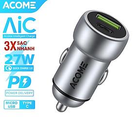 Cốc Sạc Ôtô ACOME 2 Cổng Sạc USB & PD QC 3.0 27W - Hàng Chính Hãng