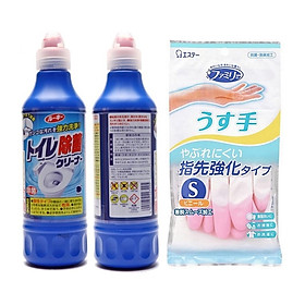 Combo 02 Chai nước tẩy toilet không mùi, siêu sạch 500ml + Găng tay cao su tự nhiên hàng nội địa Nhật Bản